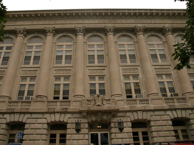 "east side of courthouse. Inscription below roof ""Boone County Court House"""