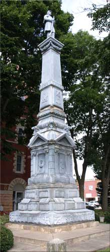 Civil War monument - with soldier at parade rest at the top