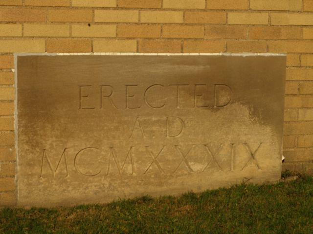 Cornerstone: Erected A.D. MCMXXXIX