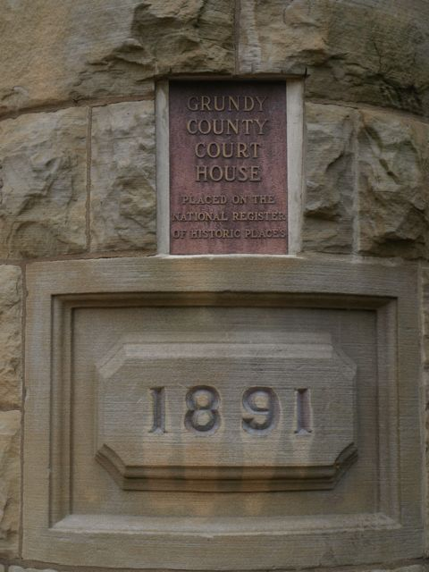 Date 1891 in stone around entrance of building, also plaque for National Historic Register designation