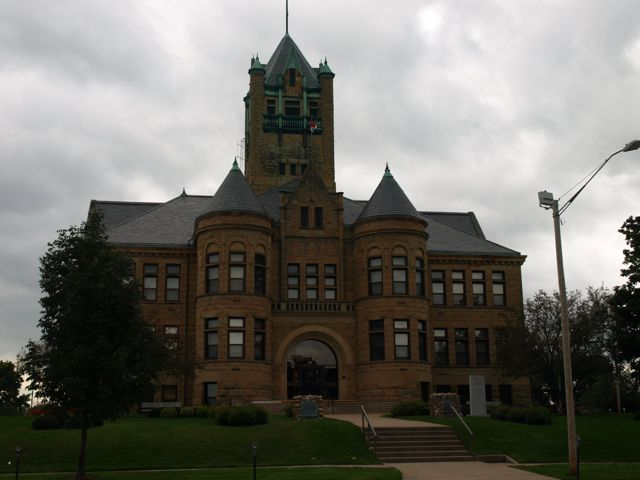 View of east side of courthouse, includes tower