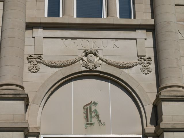 "Carving above the entrance ""Keokuk"""