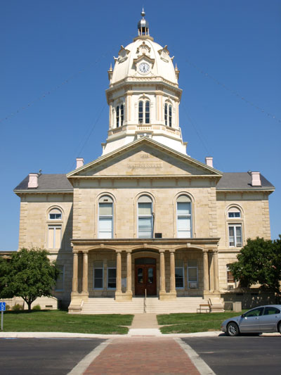 South side of courthouse. Shows entrance, columns and porch, and dome