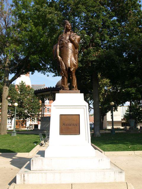 Statue of Mahaska in park just west of the courthouse