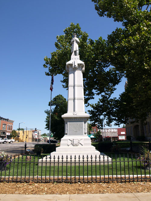 Civil War memorial with statue of soldier at parade rest