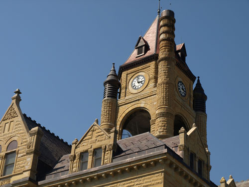 Close view of clock tower