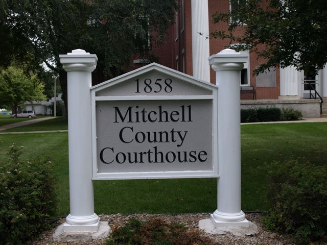 "Sign in front of the courthouse ""1858 Mitchell County Courthouse"""