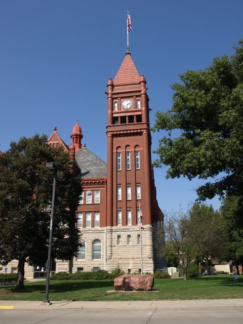 Southeast corner with clocktower - large red stone in foreground