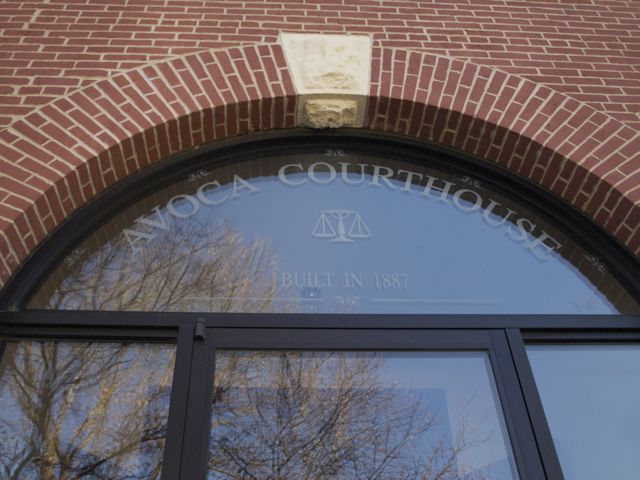 Avoca Courthouse Built in 1887 etched in glass above entrance