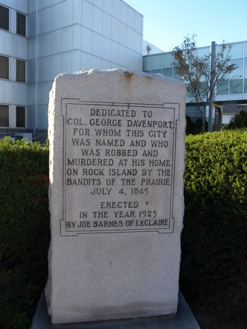 Memorial stone for Col. Geoge Davenport, for whom the city was names.