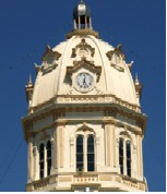 cupola with clock on courthouse dome