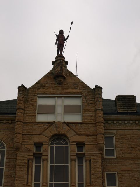 Close up of front showing Chief Wapello on the top gable
